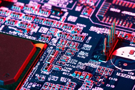 Photo for Extreme macro of electric components on printed circuit board - Royalty Free Image