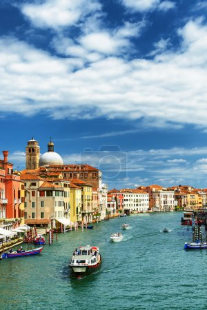 View of the Grand Canal with water taxi in Venice, Italy
