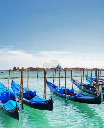 Gondolas parked on the Venetian Lagoon in Venice, Italy
