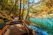 Wooden boardwalk leading along azure lake among fall woods