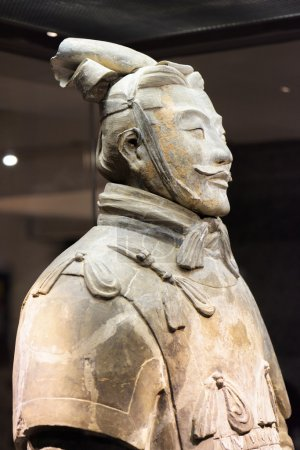 Closeup view of high-ranking officer of the Terracotta Army