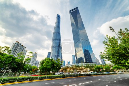 Bottom view of the Shanghai Tower, the Pudong New District