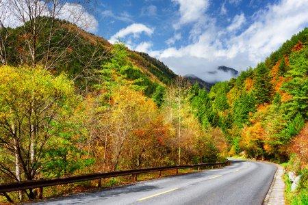 Photo pour Route panoramique parmi les bois colorés d'automne. Des montagnes étonnantes dans le brouillard sont visibles sur fond de ciel bleu. Des arbres jaunes, orange, rouges et verts poussent le long de la route. Beau paysage d'automne . - image libre de droit