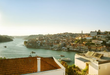 View of the Douro River and historic centre of Porto, Portugal.