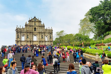 MACAU - JANUARY 30, 2015: View of the Ruins of St. Paul's Cathed