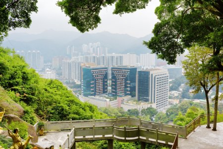 Beautiful view of Hong Kong city and small bridge from the Ten T