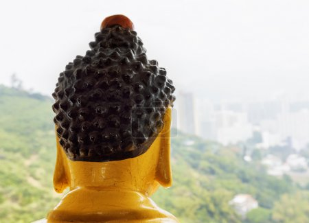 Buddha statue watching Hong Kong from the top of the pagoda of t