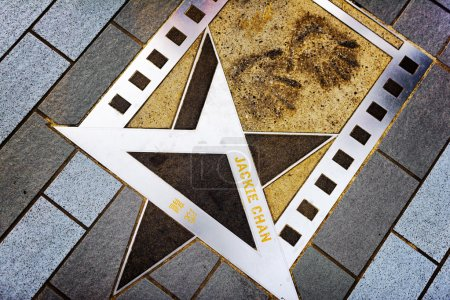 Jackie Chan's name and hand prints on the metal star on the Aven
