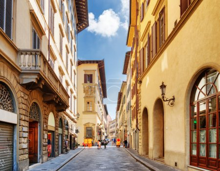 The Via dei Banchi street at historic center of Florence, Italy