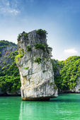 Scenic rock pillar and azure water in the Ha Long Bay, Vietnam