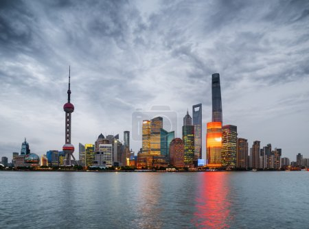 Evening view of Pudong skyline (Lujiazui), Shanghai, China