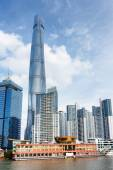 View of ferry station on the Huangpu River in Shanghai, China