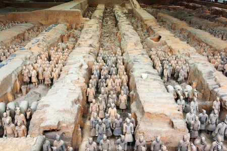 Corridors with ranks of terracotta soldiers. The Terracotta Army