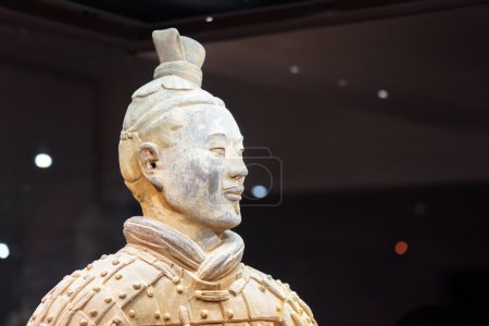 Closeup view of head of the Terracotta Army archer