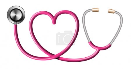 Pink Stethoscope In Shape Of Heart on White Background
