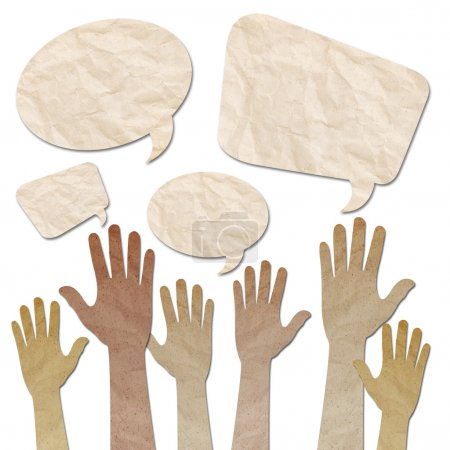Photo pour Recycled paper craft, Human Hands raised up with Speech Bubbles on white - image libre de droit