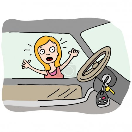 Illustration for An image of a woman locked out of her car. - Royalty Free Image