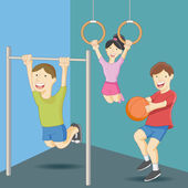 An image of physical education class kids