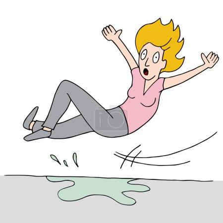 Woman Slips On Wet Floor