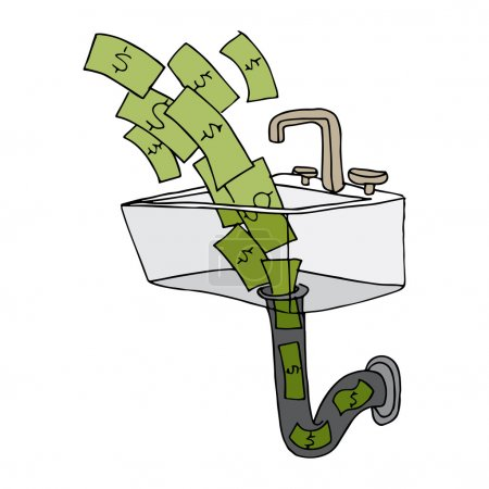 Illustration for An image of money going down the drain. - Royalty Free Image