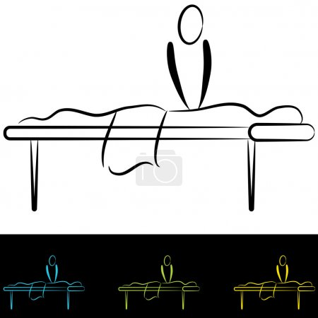 Illustration for An image of people at a massage table. - Royalty Free Image