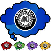 Happy Birthday Forty  web button isolated on a background