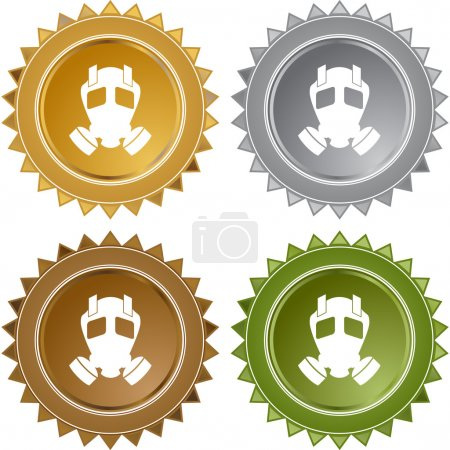 Illustration for Gas Mask web button isolated on a background. - Royalty Free Image