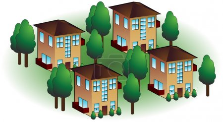 Illustration for Neighborhood apartments isolated on a white background. - Royalty Free Image