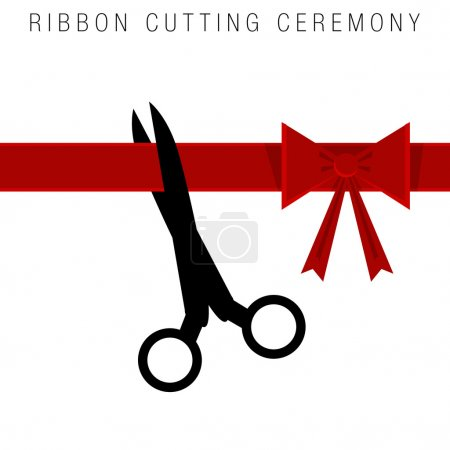 Illustration for An image of an abstract ribbon cutting ceremony. - Royalty Free Image