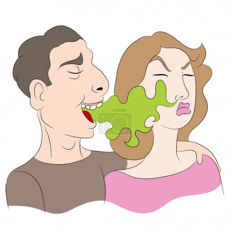 Illustration pour Une image d'une bande dessinée d'une femme remarquant qu'un homme a mauvaise haleine . - image libre de droit