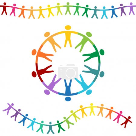 Illustration pour Un ensemble de bannières de personnes de couleur arc-en-ciel tenant la main . - image libre de droit