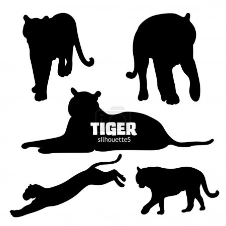 Set of five tiger silhouettes
