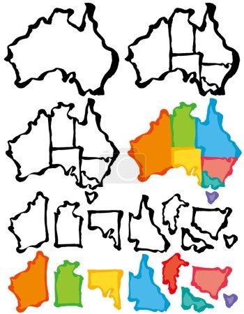 Australia map with brush stroke.