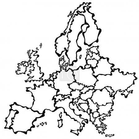 Vector drawing map of Europe.