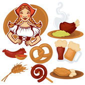 vector German girl and collection of traditional German food for