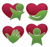 Love health hearts people and medicine symbols and icons