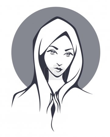 vector portrait of Virgin Mary