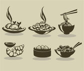 Vector collection of asian food symbol
