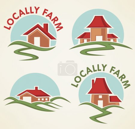 Illustration for Locally farm and homes, vector collection of property symbols, logo and emblems - Royalty Free Image