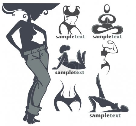 woman fitness body, logo collection