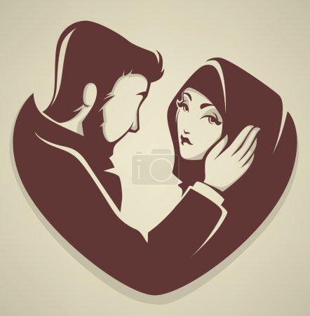 Muslim love, couple, wedding, bride and groo
