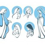 Vector illustrations of praying virgin Mar...
