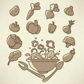 vector collection of vegetables images in doodle style