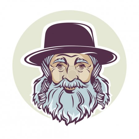 old jewish man, vector portrait or avatar