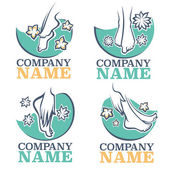 bath and spa for your foot vector emblems