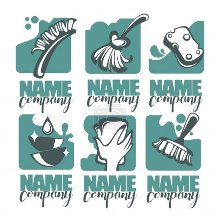 Cleaning, washing, sweeping and chamberwork, vector emblem, logo