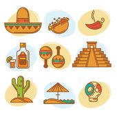 Go to Mexico vector mexican symbols emblems and icons collectio