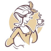 historical woman with cup of tea logo for restourant cafe or t