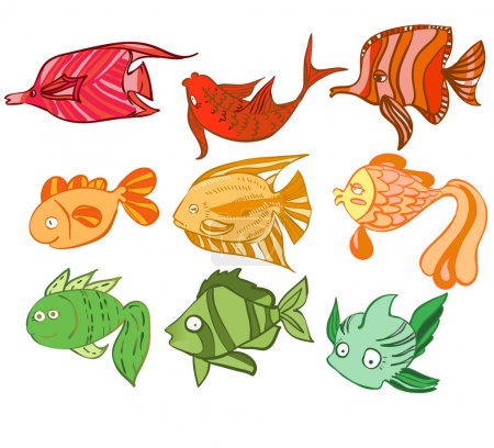 Illustration for Multicolored charismatic fish. Vector illustration - Royalty Free Image