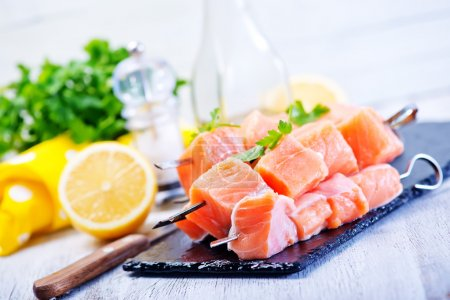 red salmon  with fresh parsley